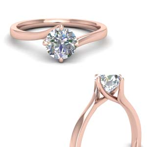 14K Rose Gold Twisted Solitaire Ring