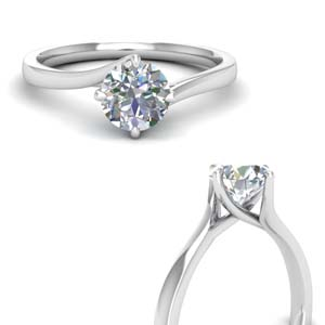 18K White Gold Single Solitaire Ring