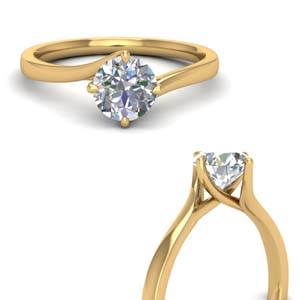 14K Yellow Gold Round Diamond Ring