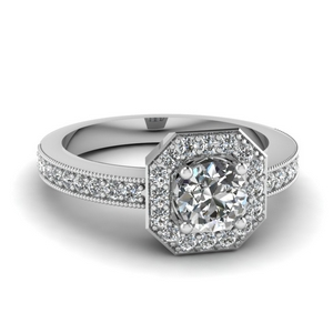 Octagon Halo Engagement Ring