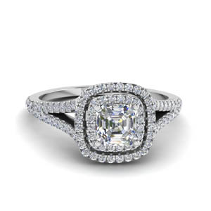 Split Double Halo Diamond Ring