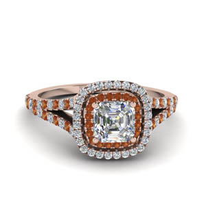 asscher cut split double halo diamond engagement ring with orange sapphire in 14K rose gold FDENR9107ASRGSAOR NL RG