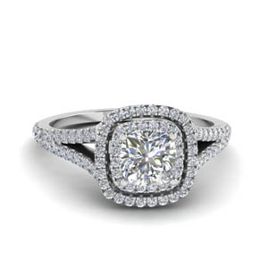 cushion cut split double halo diamond engagement ring in 14K white gold FDENR9107CUR NL WG
