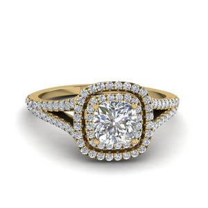 cushion cut split double halo diamond engagement ring in 18K yellow gold FDENR9107CUR NL YG