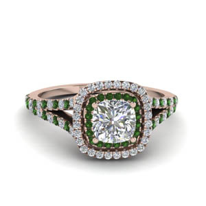 cushion cut split double halo diamond engagement ring with emerald in 14K rose gold FDENR9107CURGEMGR NL RG