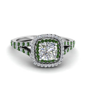 cushion cut split double halo diamond engagement ring with emerald in 18K white gold FDENR9107CURGEMGR NL WG