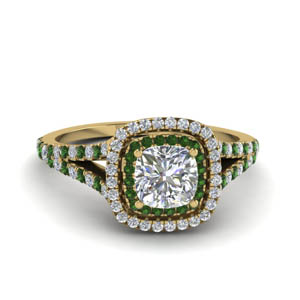 cushion cut split double halo diamond engagement ring with emerald in 14K yellow gold FDENR9107CURGEMGR NL YG