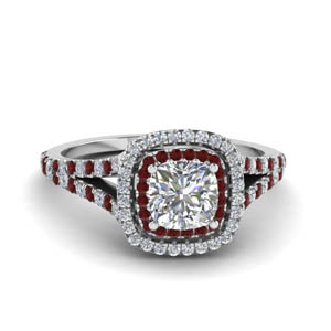 cushion cut split double halo diamond engagement ring with ruby in 14K white gold FDENR9107CURGRUDR NL WG