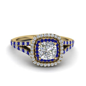 cushion cut split double halo diamond engagement ring with blue sapphire in 18K yellow gold FDENR9107CURGSABL NL YG