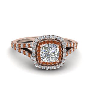 cushion cut split double halo diamond engagement ring with orange sapphire in 14K rose gold FDENR9107CURGSAOR NL RG