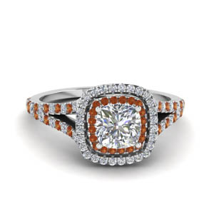 cushion cut split double halo diamond engagement ring with orange sapphire in 14K white gold FDENR9107CURGSAOR NL WG
