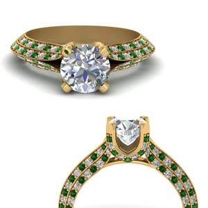 Emerald Knife Edge Diamond Ring
