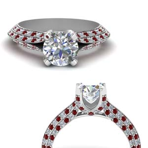 Micropave Diamond Ring With Ruby