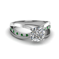 round cut diamond semi split side stone engagement ring with green emerald in 14K white gold FDENR9170RORGEMGR NL WG