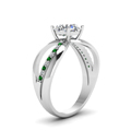 round cut diamond semi split side stone engagement ring with green emerald in 14K white gold FDENR9170RORGEMGRANGLE2 NL WG