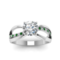 round cut diamond semi split side stone engagement ring with green emerald in 14K white gold FDENR9170RORGEMGRANGLE5 NL WG