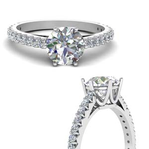 Small Engagement Ring 18K White Gold