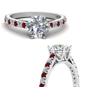 Crown Diamond Ring With Ruby