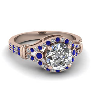 Round Shaped Sapphire Crossover Ring