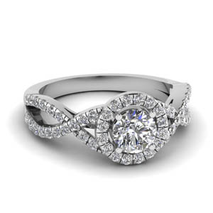 Twisted Round Halo Moissanite Ring