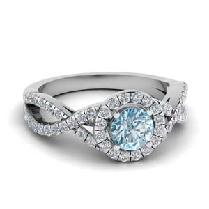 14K White Gold Aquamarine Halo Ring