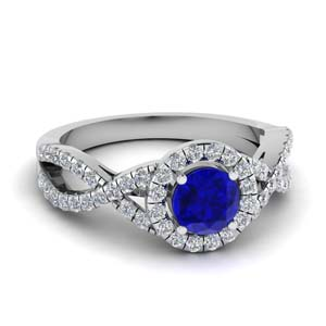 Twisted Round Halo Sapphire Ring