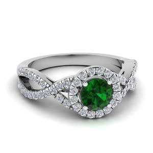 Platinum Emerald Twisted Halo Ring