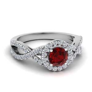 Twisted Round Ruby Halo Ring