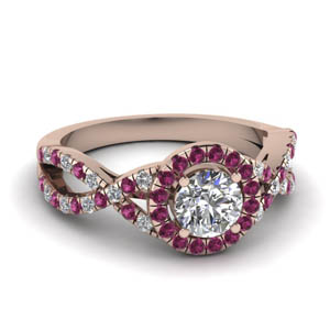 Twisted Halo Pink Sapphire Ring