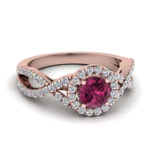 Pink Sapphire Twisted Halo Ring