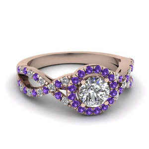 Purple Topaz Halo Twisted Ring