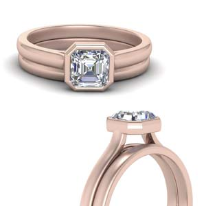 Bezel Set Solitaire Bridal Ring Set