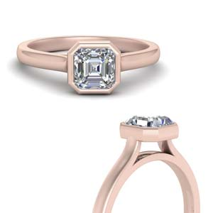 Bezel Set Solitaire Asscher Cut Ring