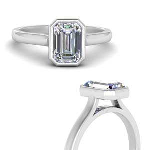 Cathedral Emerald Cut Diamond Ring