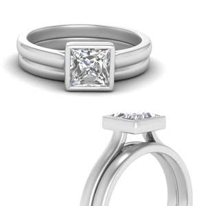 Bezel Set Solitaire Wedding Set