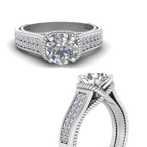 Pave 2 Row Moissanite Ring