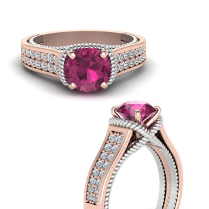 2 Row Pink Sapphire Ring