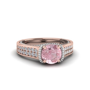Morganite Multi Row Engagement ring