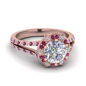 Pink Sapphire Ring With Floral Halo
