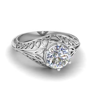 18K White Gold Filigree Style Ring