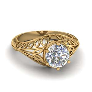 14K Yellow Gold One Diamond Ring