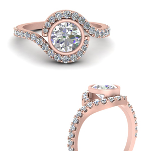Bezel Diamond Halo Ring