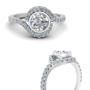 Swirl Bezel Diamond Halo Ring