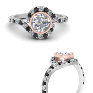 bezel-pave-two-tone-accented-engagement-ring-with-black-diamond-in-FDENR9540TRORGBLACKANGLE3-NL-WG