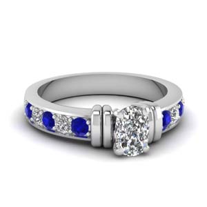 a6c46310d7e2c3 Pave Set Sapphire And Diamond Ring Affordable Engagement Rings with Blue  Sapphire in 14K White Gold