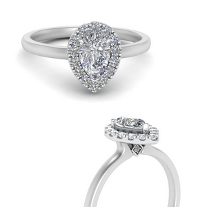 Pear Cut Halo Engagement Rings
