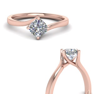 Swirl Solitaire Diamond Ring