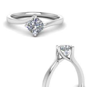 Swirl Cushion Diamond Solitaire Ring