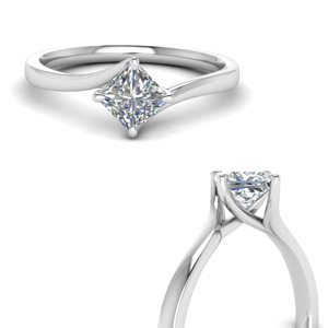 Princess Cut Swirl Diamond Ring