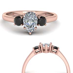 Three Stone Black Diamond Rings